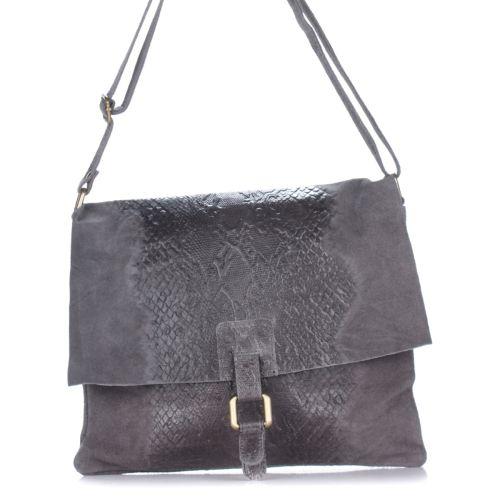 Женский кожаный клатч 1252 серый Италия