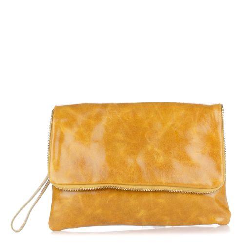 Женский кожаный клатч 1302 желтый Италия