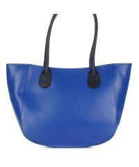 Женская кожаная сумка 1698 синяя Италия