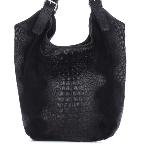 Женская кожаная сумка 17901 черная Италия