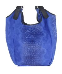Женская кожаная сумка 17901 синяя Италия