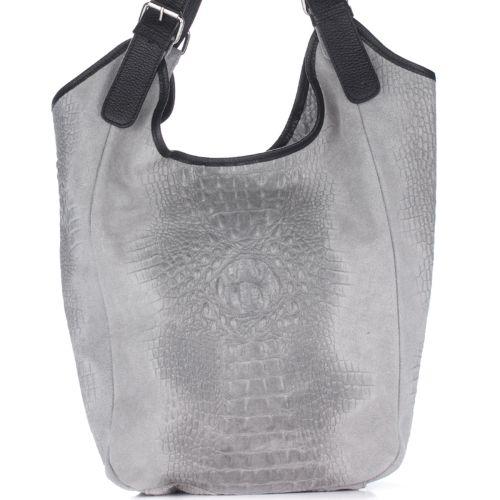Женская кожаная сумка 17901 серая Италия