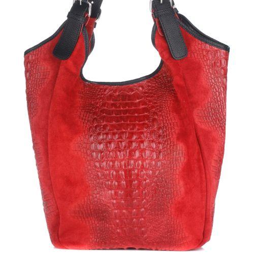 Женская кожаная сумка 17901 красная Италия