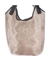 Женская кожаная сумка 17901 бежевая Италия