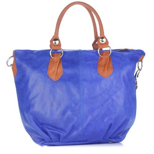 Женская замшевая сумка 2057 синяя Италия
