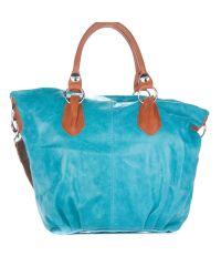 Женская замшевая сумка 2057 голубая Италия