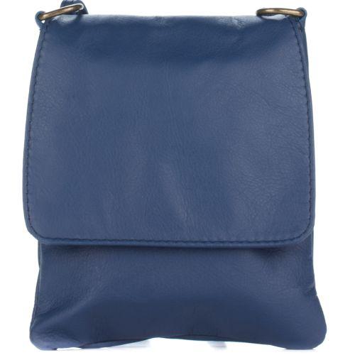 Женский кожаный клатсч 505 синий Италия