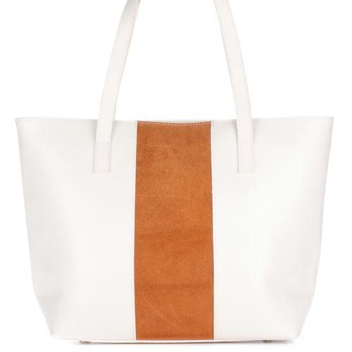 Женская кожаная сумка 5228 белая с рыжим Италия