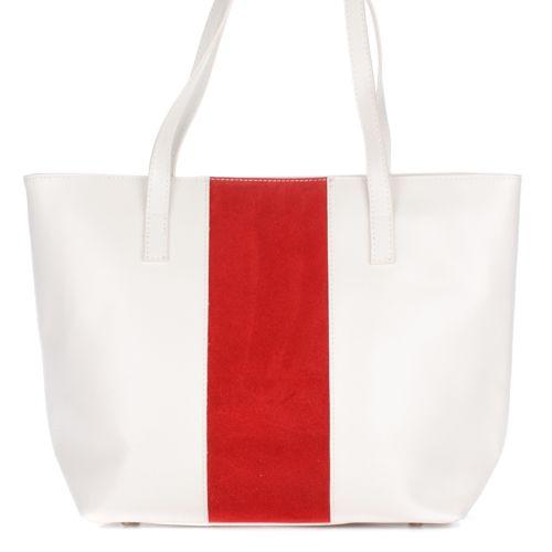 Женская кожаная сумка 5228 белая с красным Италия