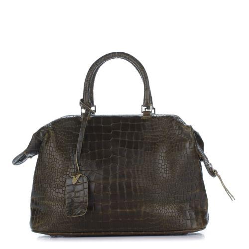 Женская кожаная сумка 8088 зеленая Италия