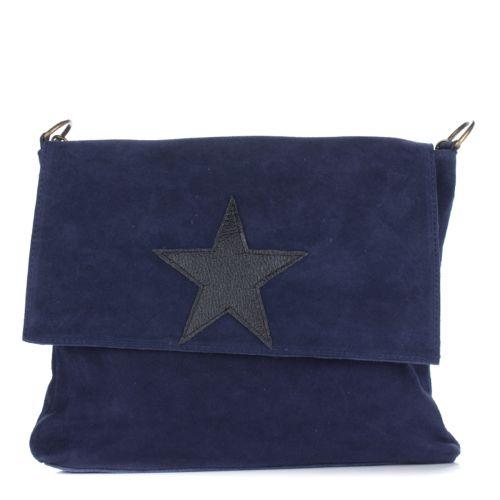 Женская замшевая сумка 8160 синяя Италия