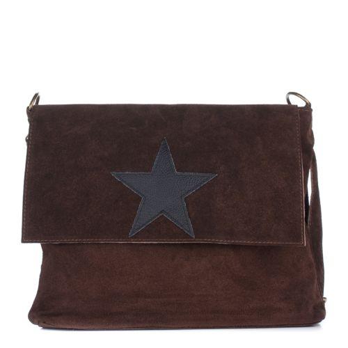 Женская замшевая сумка 8160 коричневая Италия