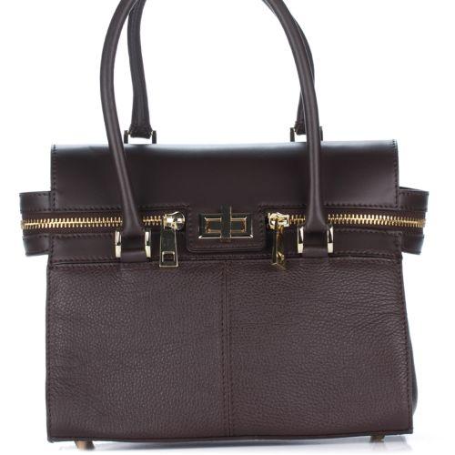 Женская кожаная сумка 8182 шоколадная Италия