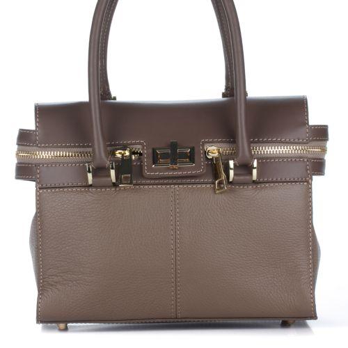 Женская кожаная сумка 8182 бежевая Италия