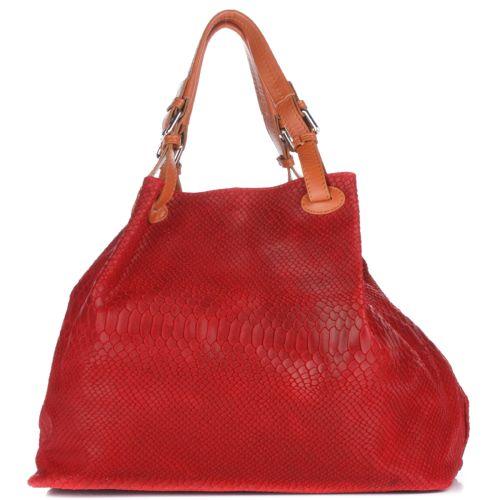 Женская кожаная сумка 898 красная Италия