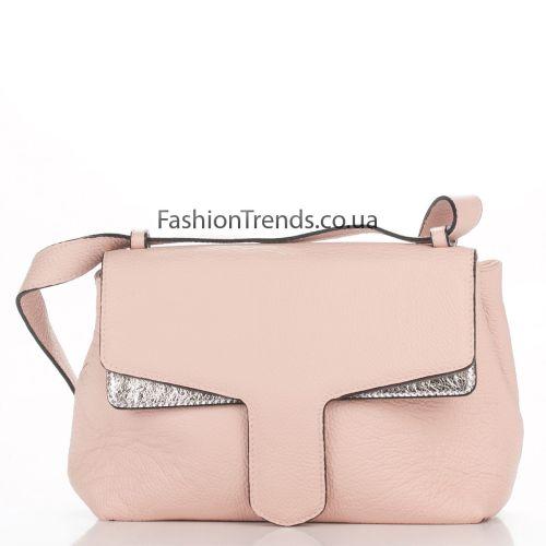 Кожаная сумка 3013 розовая Италия