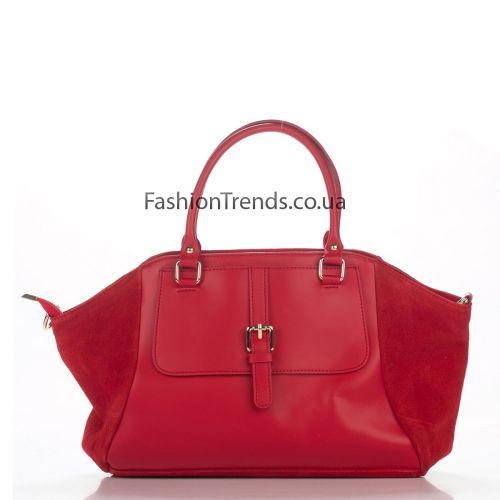 Кожаная сумка 3183 красная Италия