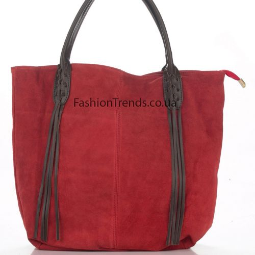 Замшевая сумка 8165 красная Италия