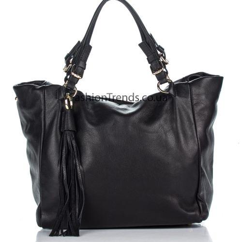 Кожаная сумка 8201 черная Италия