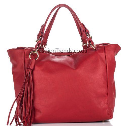 Кожаная сумка 8201 красная Италия
