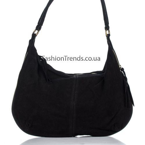 Замшевая сумка 8223 черная Италия