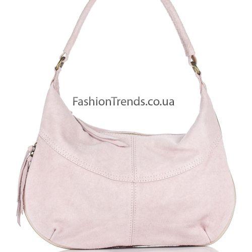 Замшевая сумка 8223 розовая Италия