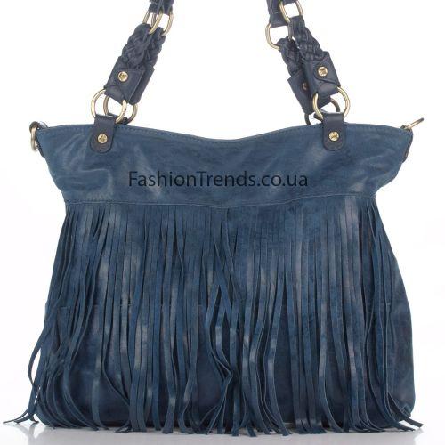 Замшевая сумка 8230 синяя Италия