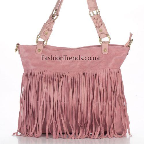 Замшевая сумка 8230 розовая Италия