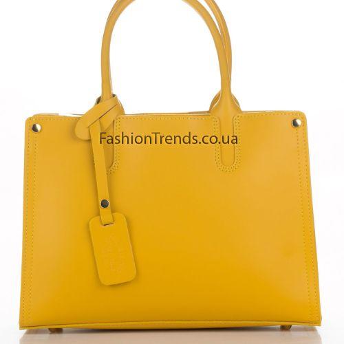 Кожаная сумка 8239 желтая Италия