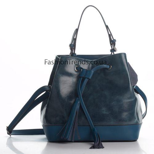 Кожаная сумка 8242 синяя Италия