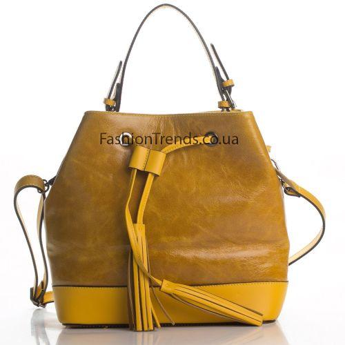 Кожаная сумка 8242 желтая Италия