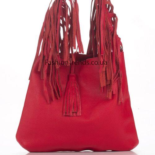 Кожаная сумка 8273 красная Италия