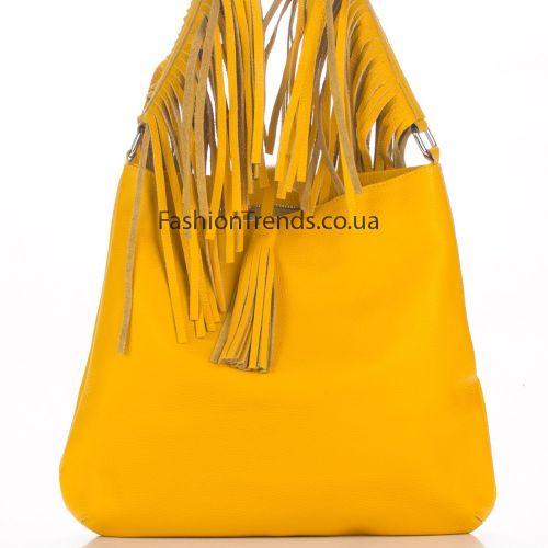 Кожаная сумка 8273 желтая Италия