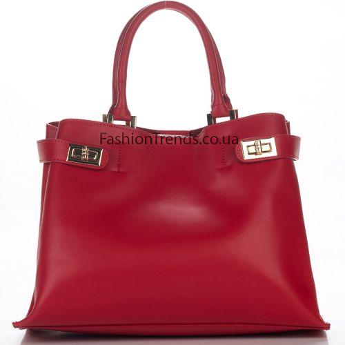 Кожаная сумка 8276 красная Италия