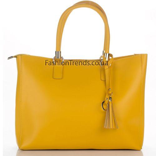 Кожаная сумка 8286 желтая Италия