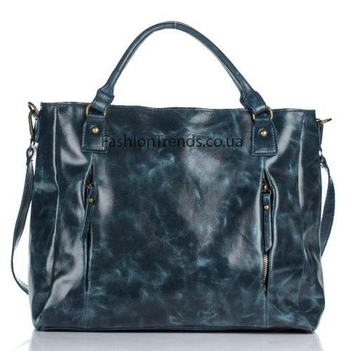 Кожаная сумка 8288 синяя Италия