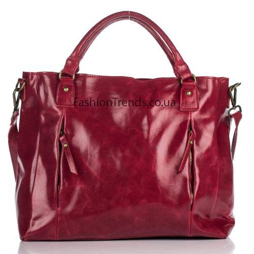 Кожаная сумка 8288 красная Италия