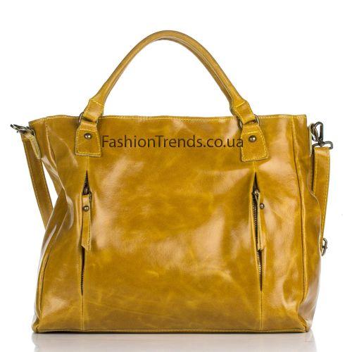 Кожаная сумка 8288 желтая Италия