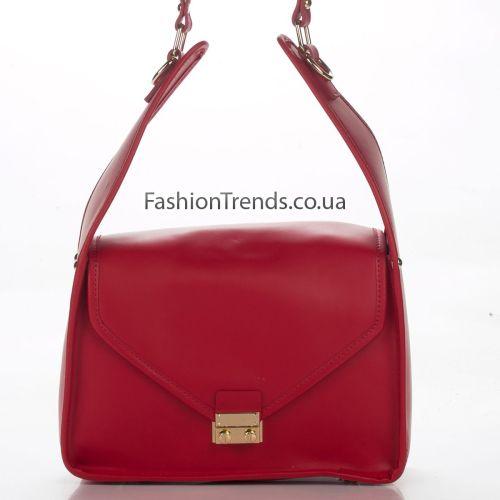 Кожаная сумка 8356 красная Италия