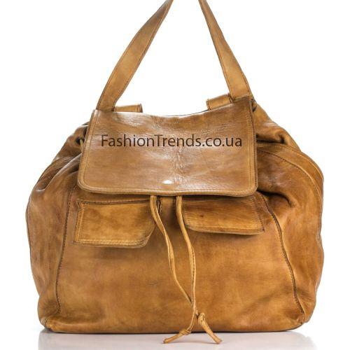 Кожаный рюкзак 981 рыжий Италия