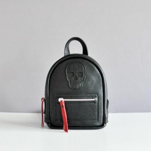 Женский кожаный рюкзак Baby Sport Skull Black черный