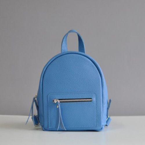 Женский кожаный рюкзак Baby Sport Sky голубой
