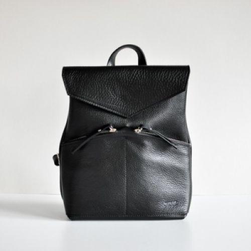 Женская кожаная сумка-рюкзак Balance Black черная