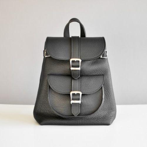 Женский кожаный рюкзак Classik Black Elephant черный