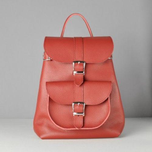 Кожаный рюкзак Classik Red красный