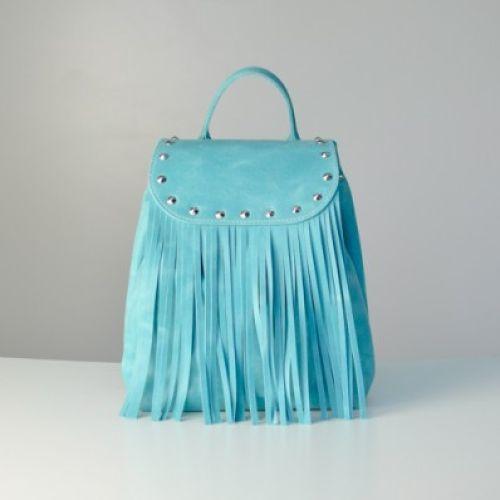 Женский кожаный рюкзак Ethnic Blue голубой
