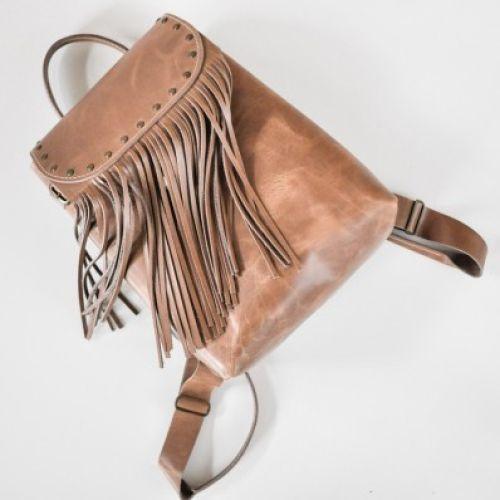 Женский кожаный рюкзак Ethnic Sand бежевый