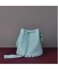 Женская кожаная сумка Jizuz Cross-R Aqua голубая