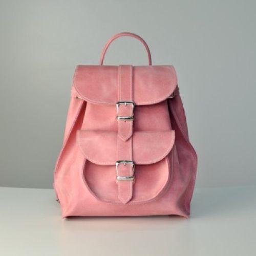 Женский кожаный рюкзак JIZUZ Tulip Bubblegum розовый