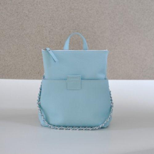 Женская кожаная сумка-рюкзак K-2 Aqua голубая